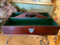English Victorian Mahogany Wood Cutlery Tray Carrier Circa 1880
