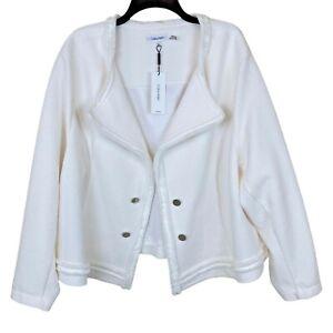 Calvin Klein 2X Plus Size Textured Knit Jacket Womens Soft White Open Front New