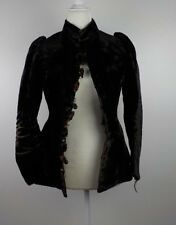 Antique Velvet Jacket Womens Small Mandarin Collar Fur Buttons Black Costume