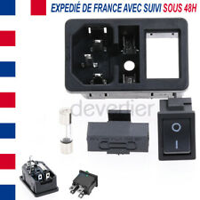 CHASSIS PRISE MALE IEC C14 A CLIPSER 250V FUSIBLE + INTERRUPTEUR ON OFF NOIR
