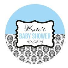 Baby Shower ADESIVI BOY BLUE Party Bag Borsa Regalo 60mm grande lucida ETICHETTE