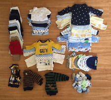 USED 70+ PC. LOT OF NEWBORN BABY BOY CLOTHES/PJs/PANTS/HATS/BODYSUIT/SOCK/MITTEN