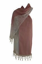 Cotton Blend and Lace Soft Drape Scarf - by Memories - Pink Cream