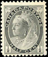 1898 Mint Canada F+ Scott #74 1/2c Queen Victoria Numeral Issue Stamp Hinged