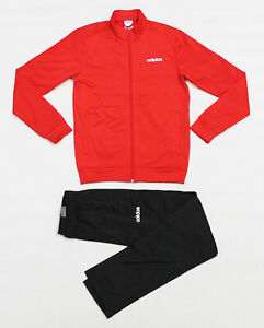 NWT ADIDAS Men's Black Red Scarlet Warm-Up Track Suit Set Jacket Pants Joggers