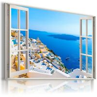 """W418 GREECE 3D Window View Canvas Wall Art Picture Large SIZE 30X20"""""""