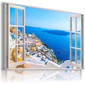 GREECE SANTORINI SEA BEACH 3D Window View Canvas Wall Art Picture  W418  MATAGA