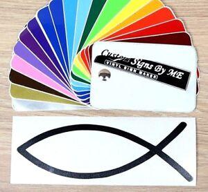 Fish Ichthys Symbol Sticker Vinyl Decal Adhesive Window Bumper Tailgate BLACK