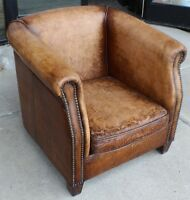 """Set of TWO 30"""" W Club Arm Chair Antique Vintage light brown buffalo leather soft"""
