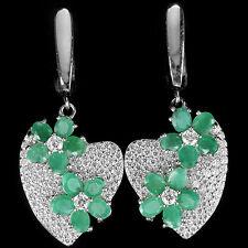 Ohrringe Herz Smaragd & CZ 925 Silber 585 Weißgold