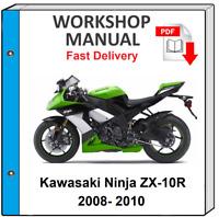 Kawasaki Zx 10r Ninja Zx1000 Maintenance Service Repair Manual 2008 2010 Zx10r Ebay