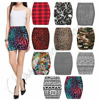 New Womens Print Ladies Stretch Elasticated Jersey Bodycon Short Mini Skirt 8-14