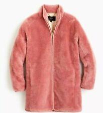 J Crew Faux Fur Zip Up Coat Jacket Size Large J9064 Glass Petal