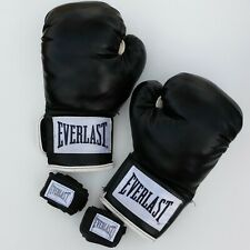 12 Oz. Everlast Boxing Practice Faux Leather Gloves Black & White With Bandages