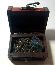 Cofre Del Tesoro Caja De Cuero Cristal Mineral De Pavo Real BORNITE Regalo Diversión