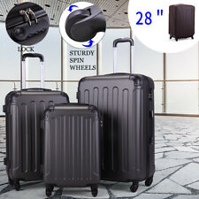 3 Piece Luggage sets Lightweight Durable Spinner Suitcase ABS+PC w/ Cover Gray