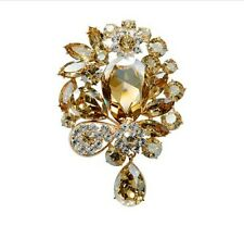 Golden Shadow Dangling Tear Brooch Br127 Luxury Champagne Gold Tone Large Size