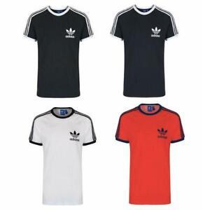 adidas Mens T Shirt originals Essentials White Black Red Blue 3 Stripe Sport Tee
