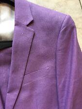NWT AFAZZY Modern Fit Men's 100% Linen  Suit  Lined Lavender Color 2BT. Size 44L