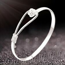 Ladies 925 Silver Plated Vintage Flower Bracelet Bangle Charm Jewelry Gift