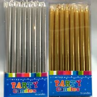 New 16pk Small Tapered Candles 5'' Tapered Party Candle Gold Silver Chrome