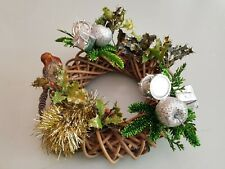 Natural Willow Hanging Ring Christmas Festive Mesh Wicker Wreath Decoration