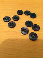 BUTTONS PEACOCK BLUE 10mm dia , PACK OF 10 FREEPOST UK