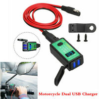 Motorcycle Fast Charger SAE To 2USB Adapter Kit w/Voltmeter Switch Waterproof