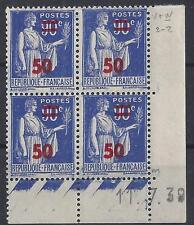 PAIX N° 482 - BLOC de 4 COIN DATE - NEUF sans CHARNIERE - LUXE - 11/7/39