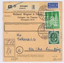 Bizone/Bauten, 97IIeg MiF 128, Paketkarte Usingen Land, 25.2.53