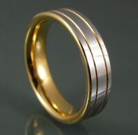 Tungsten Carbide 6 mm Double Gold Line Polished Silver Mens Or Womens Band Ring.