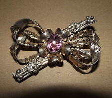 A+++ Mid-Century HOBE 14K on Sterling Brooch- Floral Bough- Purple Center Stone