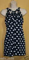 Anne Klein navy blue white tie neck T Back dots sleeveless blouse suit top 6 $79