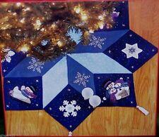 "Bucilla ""LET IT SNOW"" Felt Christmas Tree Skirt Kit Blue~Sterilized Snowman Mint"