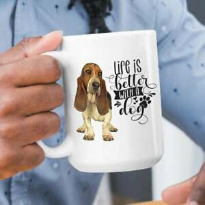 Life Is Better With A Basset Hound Premium Coffee Mug Or Teacup. Perfect Gift