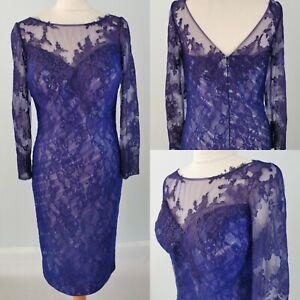 NEW Veni Infantino 12 Purple Blue Lace Dress Mother of Bride Wedding *Defect*