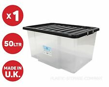 50 LITRE PLASTIC STORAGE BOX STRONG BOX WITH BLACK LID - CATERS FOR ALL PURPOSE-