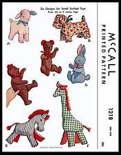 Fabric Sew Pattern McCall #1218 Stuffed Animal Toys Lamb Giraffe Zebra Bear Dog