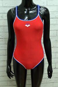 Arena Costume Donna Taglia XS Bikini Intero Poliestere Rosso Woman Swimsuit