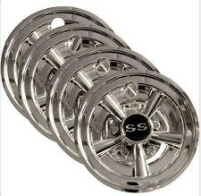 "Golf Cart SS 8"" Chrome Wheel Covers Hub Caps, Set of 4 - EZGO, Club Car, Yamaha"