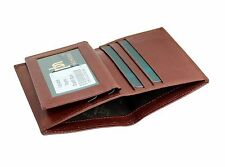 Mens Real Leather Mini Compact Wallet Oyster Pass Credit Card Holder 4008 Cognac