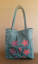 Green Leather Tote Bag w Flowers, Women Shoulder Purses, Casual Handbags