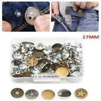 50 Pcs 17mm Round Coat Jeans Buttons Vintage Stainless Steel Decor with Box AU