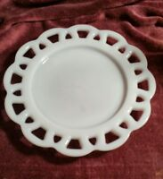 1 Anchor Hocking White Milk Glass Open Lace Edge Old Colony Salad Plate