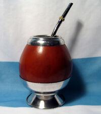 ARGENTINA MATE GOURD YERBA TEA WITH STRAW BOMBILLA KIT HEALTHY DRINK SET 0062