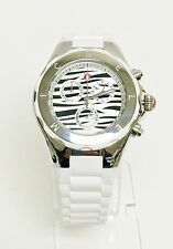 NEW MICHELE TAHITIAN JELLY BEAN SILVER,WHITE SILICONE,ZEBRA,WATCH-MWW12F000055
