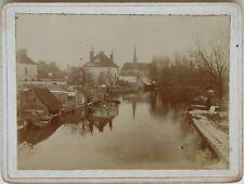 Souppes-sur-Loing Vue prise sur le pont France Photographie Vintage vers 1900