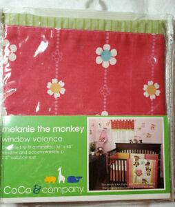 "New Nursery Valance Curtain Pink Floral Green Trim Melanie the Monkey Fits 36"""