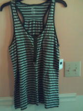 NWT Gap ladies sleeveless gray & olive striped racer back tank top; size XL