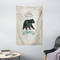Bear Tapestry Vintage Wildlife Label Print Wall Hanging Decor
